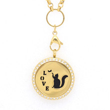 10Pcs Rhinestone Gold Cat Essential Oils Diffuser Lockets Pendants 20/25/30mm Stainless Steel Purfume Locket Free Pads