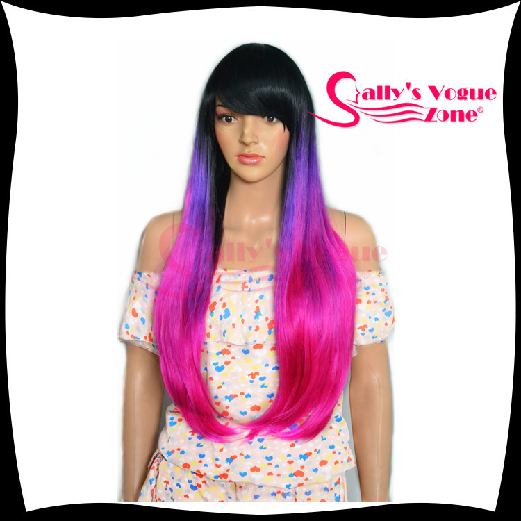 Latest Female Long Wigs Kanekalon Synthetic Cosplay Wigs With Bangs Ombre Three Tone Black+Purple+Pink Heat-resisting<br><br>Aliexpress
