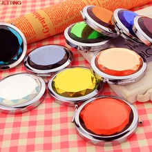 JETTING-Portable Cute Crystal Metal Pocket Mirror Makeup Fold Round Crystal Compact Mirror Personalized Wedding Gifts