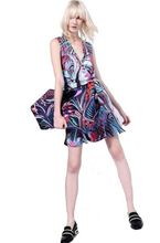 2016 Runway Designer Dress Women's High Quality Sleeveless Multicolor Abstract Printed V-neck Size XXL Jersey Silk Dress
