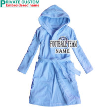 [FEETOO] Chelsea Football Team  Embroidery Boy Bathrobe 100% Cotton Blue Cap Habitat Home Robe Children's Nightgown
