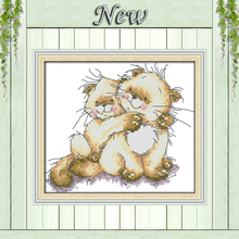 Mother and baby cuddled up bears love Decor Counted Printed on canvas Needlework DMC 11CT 14CT Cross Stitch kits Sets embroidery(China)