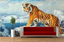 Custom mural photo 3d wallpaper Chinese tiger icebergs snow picture room decor painting 3d wall murals wallpaper for wall 3 d