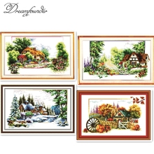 Spring summer 4 seasons cross stitch kit lanscape stamped 18ct 14ct 11ct hand embroidery DIY handmade needlework supplies bag(China)