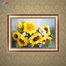 2017 Hot sale DIY 5D Round Diamond Embroidery Sunflowers Painting Cross Stitch Home Decor MAY9_35(China)