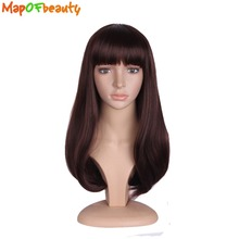 "MapofBeauty Curly Hair Heat Resistant 20"" Dark Brown Black Cosplay Synthetic Wigs For Women Party Nautral Flat Bangs False wig(China)"