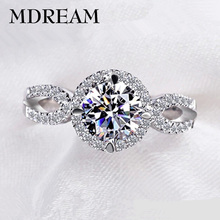 silver Color ring cubic zirconia for female girl romantic wedding rings jewelry Factory price LSR076(China)