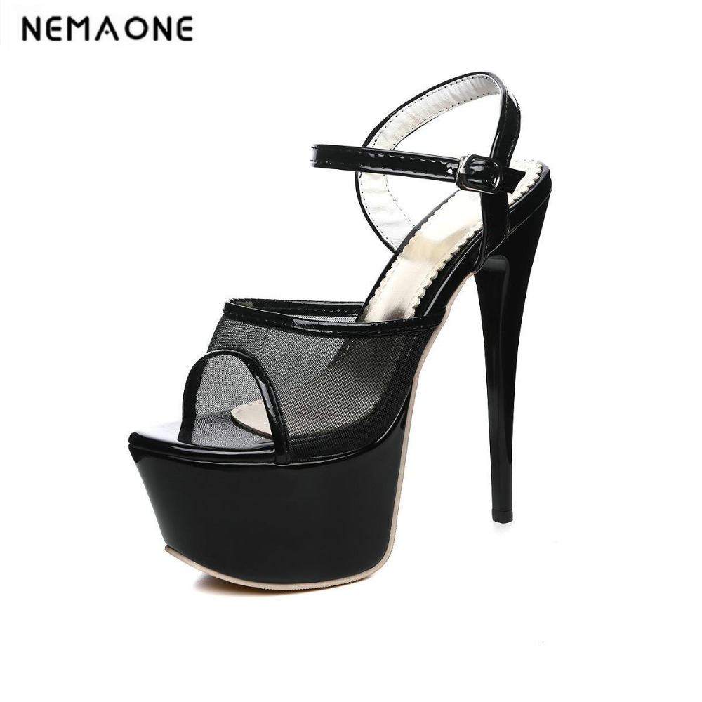 2018 Women High Heel Sandals Sexy Transparent Women Shoes open toe High Platform 15cm Shoes woman<br>