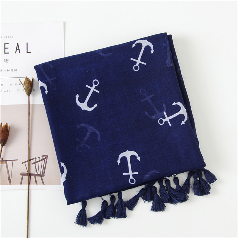 2019 New design womens tassel scarf female navy wind boat anchor cotton and hemp blue scarf thin scarf travel sun shawl10pcs/lot