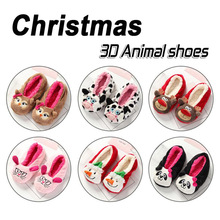 Christmas Warm Flats Soft Sole Women Indoor Floor Slippers/ Animal Shape Black Pink Red Brown Flannel Home Slippers 8 colors(China)