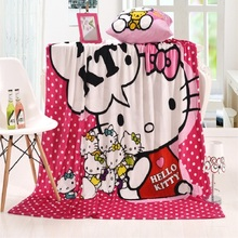 Cartoon Flannel Blanket 150x200cm Hello Kitty Pattern Sofa Throw Blanket Bed Quilt Plaid Blankets Children Adult Blanket Warm