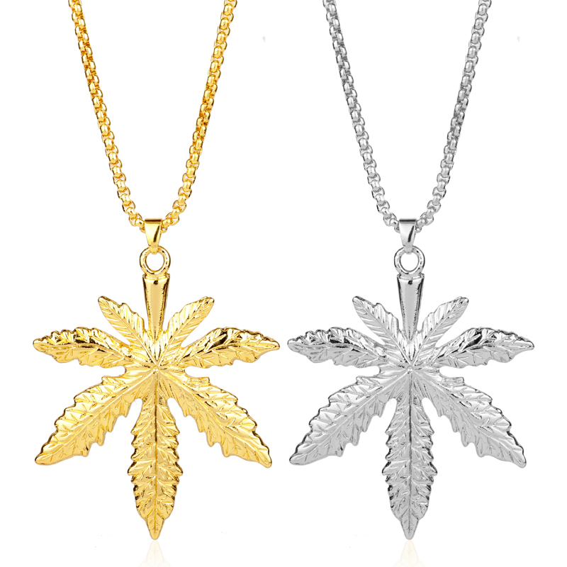 MQCHUN Iced Weed HipHop Necklace&Pendant Gold Color Maple Leaf Pendant Long Chains Hip Hop Bling Necklace Men Mujer