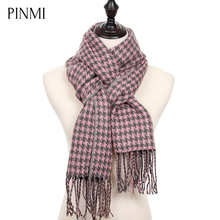 PINMI Classic Houndstooth Winter Scarf Women Plaid Warm Cashmere Scarf Female 2017 New Fashion Soft Blanket Scarves and Shawls