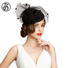 FS Vintage Black 100% Australian Wool Pillbox Hat With Veils Flower Wedding Dress Hats For Women Mesh Elegant Ladies hats