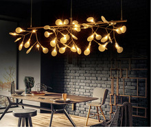 X Modern restaurant lighting tree branches leaf firefly light bedroom cafe led art creative living room chandeliers Round lights