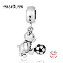 FirstQueen High Polishing 925 Sterling Silver Teddy Bear Play Football Dangle Charm Fits Bracelets For Woman Diy Jewelry Making(China)