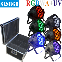 6pcs/lot&flight case 18PCS*18W (RGBWA UV 6-in-1) LED Par Light DMX Stage Lighting Party Disco LED UV light hex LED par can led