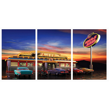 Fancy Rock Diner Restaurant Canvas Art Print Waterproof Fabric Canvas for Home Kitchen Room Decor 3 Pieces No Framed