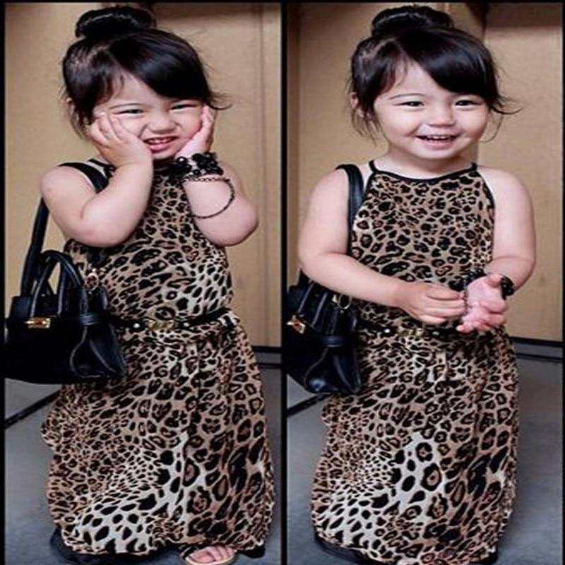2017 summer style sleeveless Leopard print maxi dresses for girls long dress kids clothes hello kitty vestidos infantis DY043A