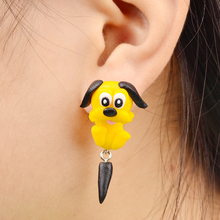 Handmade Polymer Clay Yellow Anime Dog Stud Earrings For Women Fashion Animal brincos Piercing Earrings Jewelry bijoux 8571