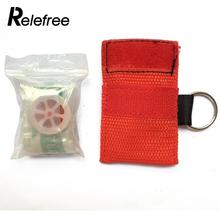 Relefree Outdoor CPR Resuscitator Mask Key Ring Keychain Emergency Rescue Face Shield Health Care Outdoor Camping Survival kit(China)