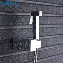Bathroom Bidet Function Square Hand Shower Head Chrome Finish Solid Brass Cold Water Valve Tap Crane 90 Degree Switch