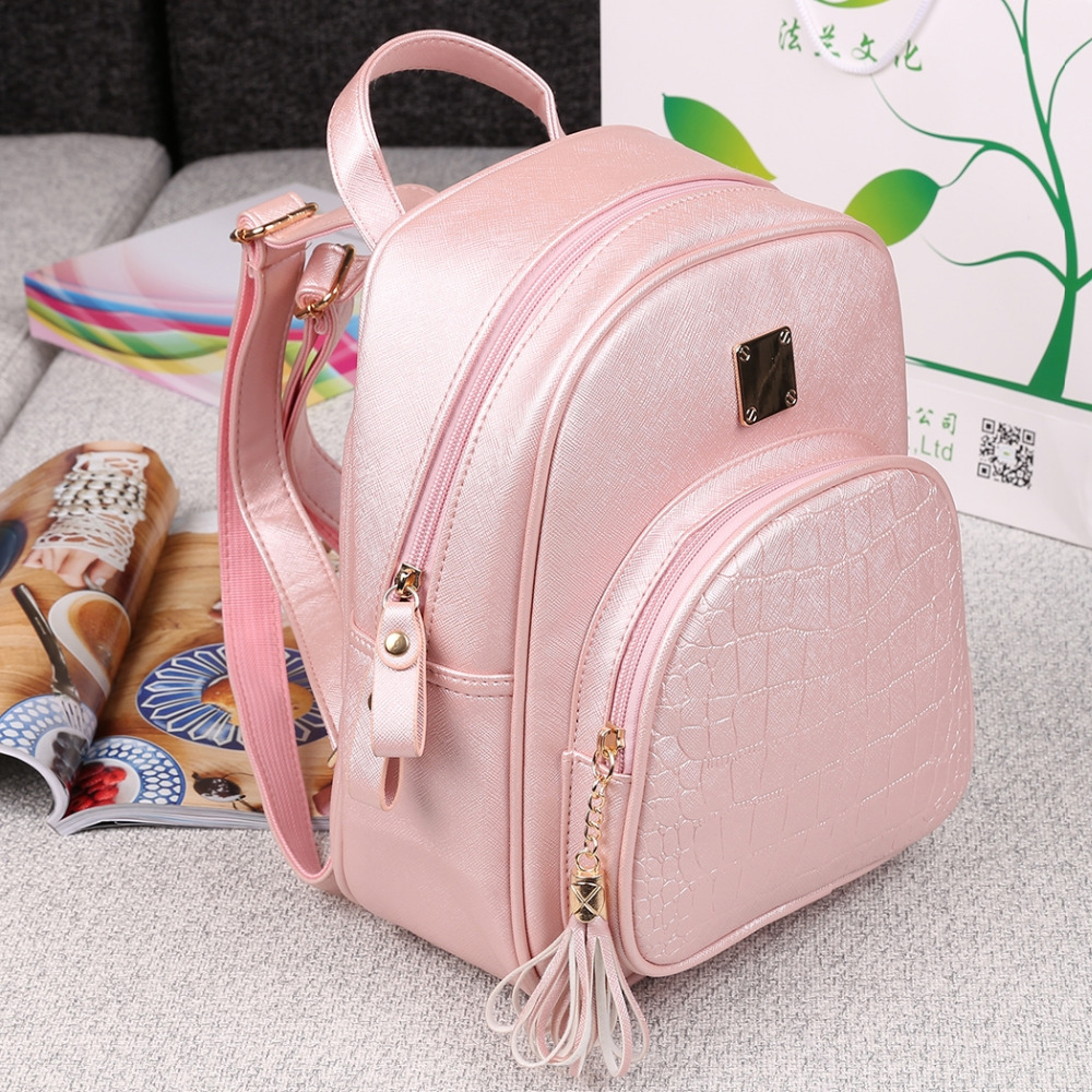 Fashion Women Synthetic Leather Solid Shoulder Bag Backpacks<br><br>Aliexpress