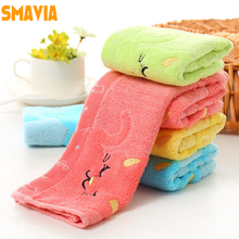 SMAVIA Cute Cat Printed Kids&Baby Face Towel Super Soft Bamboo Fiber+Cotton Fabric Hand/Hair Towel Square 28*28cm Towels 4 Color