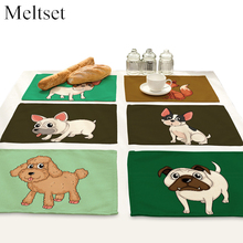 2pcs/lot Cute Dog Series Dining Table Mat Linen Disc Bowl Pads Heat Insulation Non-Slip Placemats Kitchen Accessories