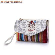 ZHI GENG BIRDS! Cute Girls New Canvas Fabric Bags Woman Casual Day Clutches Small Travel Wristlets Bolsos Phone Bags Cases Purse