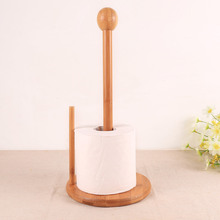 Bamboo Wood Tissue Holder Vertical Roll Pole Paper Towel Holder fof Kitchen/Toilet Freestanding Kitchen Home Tool Free Shipping(China)