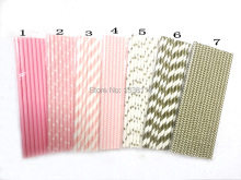 25pcs Light Pink Gold Paper Straws for Baby Shower Wedding Party Kids Birthday Party Decoration Supplies Paper Drinking Straws