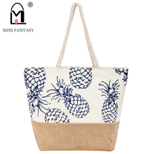 Straw Beach Bag Summer Women Handbag Pineapple Printed Bag Straw Women Bag Weekend Tote Bags Designers Travel Handbag Straw Tote(China)