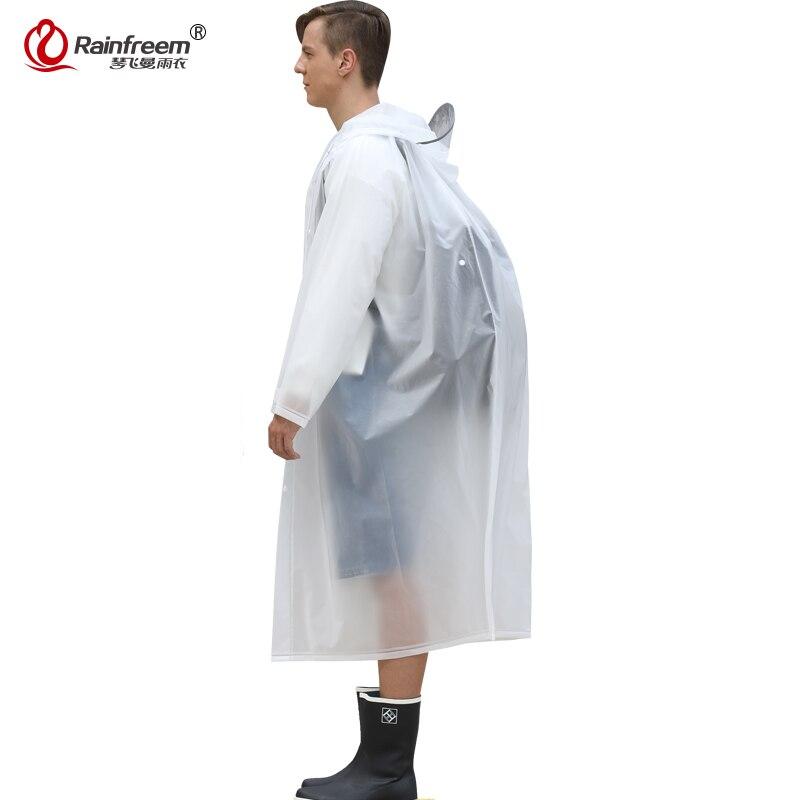 Rainfreem 2017 New Hidden Backpack Position Light Raincoat Women/Men Impermeable Plastic Transparent Rain Coat Rain Gear Poncho