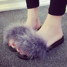 Sweet Hot Fashion Sexy Women Fur Fluffy Slip On Sandals Feather Slippers Flip Flops Ladies Summer Flat Shoes Red,Black,Gray(China)