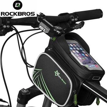 ROCKBROS Vélo Sac Étanche À La Pluie De Vélo Avant De Bicyclette Head Sac Top Tube Double IPouch Sacoche Vélo Pannier 5.8 6.0 6.2 Pouce Tactile écran