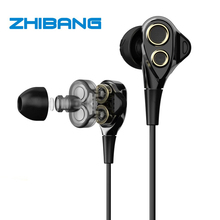 2017 ZHIBANG ZB07 double Dynamic headphones for sport Earbuds earphone with microphone headset