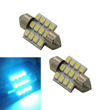 2016 New Hot 10PCS 12V Aqua Blue 31mm 12-SMD DE3175 DE3022 LED Bulbs For Car Interior light CREE Chips Free Shipping&Wholesale