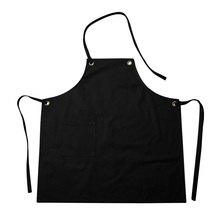 Womens Aprons Solid Color Chef Apron Working Apron Hole Ring Pattern Cooking Bib Flower Shop Restaurant Supplies 4 Colors