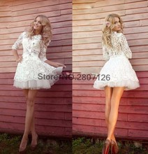 Buy 2017 Ball Gown Wedding Dresses Sleeves Mini Short Lace Princess Styles Bridal Dress Bride Gown Robe De Mariage for $121.60 in AliExpress store