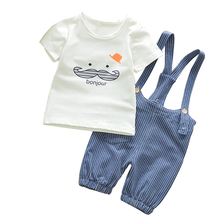 BibiCola Baby Boy Clothing Sets Summer 2017 New Arrival Newborn Boys Clothes Set Bebe Clothing Set Shirt+Pants Infant Clothes(China)