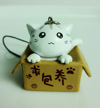 Cat Strap Toy, Cute Kitten Key Ring, Bag Ornament, Gift idea (White)