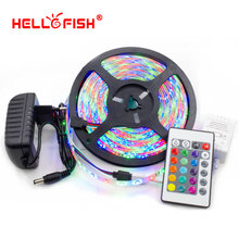 Hello Fish 5M 2835 300 SMD IP65 Waterproof Flexible LED Strip Light and IR Remote Controller +12V 2A Power Adapter Kit(China)