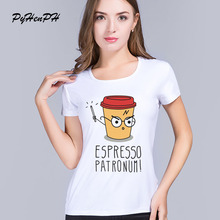 2016 new Womens Summer Casual Magic coffee Design T shirt vintage Printed Short Sleeve Women T-shirt Tops cheap clothes