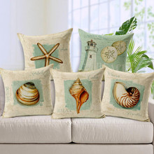 "Cotton Linen Cushion Cover Marine Biology Shells Starfish Printed Decorative Sofa 18"" Throw Pillowcase Pillow Cover New(China)"