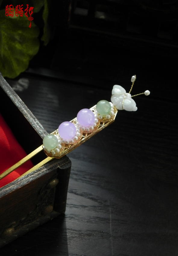 Jadite Butterfly Beading Hair Stick Handmade Vintage Hair Stick for Hanfu Costume Cos Accessories Bride Hair Jewelr<br>