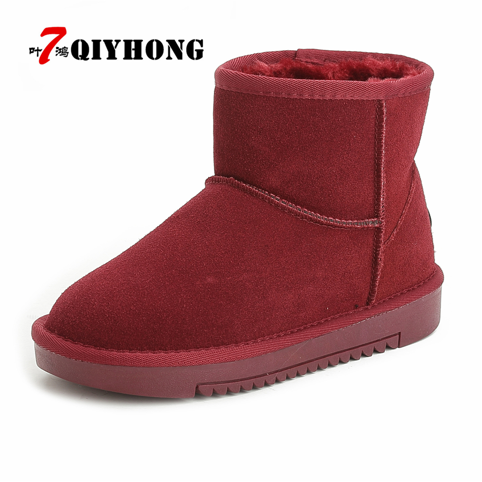Hot Sale Women Snow Boots Fashion QIYHONG Brand Snow Boots Women 100% Genuine Leather Ankle Boots Warm Winter Boots Women Shoes<br>