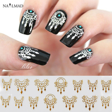 1 Sheet Dreamcatcher Nail Stickers Gold Dream Catcher Nail Stickers 3D Adhesive Sticker Decals(China)