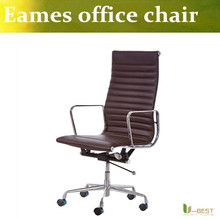 U-BEST Real leather meeting rooms and executive office chairs,Ribbed Emes Style Executive Brown Leather Faced Office Chair