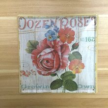 Vintage painting Wall tin signs plates Antique Rose garden Retro crafts metal wall art decoration house bar coffee decor 20*20CM